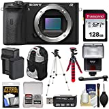 Sony Alpha A6600 Mirrorless Digital Camera Body with 128GB Card + Battery & Charger + Backpack + 2 Tripods + Reader + Flash + Kit