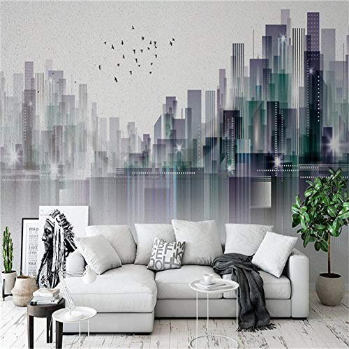 Tv Background Wall Simple Abstract City Landscape Mural Living Room Tv Background Wall Seamless Non...