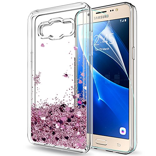 LeYi Compatible with Custodia Samsung Galaxy J5 2016 Glitter Cover con HD Pellicola,Brillantini Trasparente Silicone Gel Liquido Sabbie Mobili Bumper TPU Case per Galaxy J5 2016 Telefonino Donna Rosa