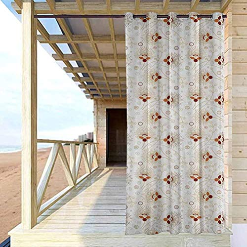 ScottDecor 96' W by 84' L Abstract Modern Window Curtains for Patio,Porch,Backyard Chevron Zigzags Background with Ornate Flourishing Petals Illustration Burgundy Orange Cream