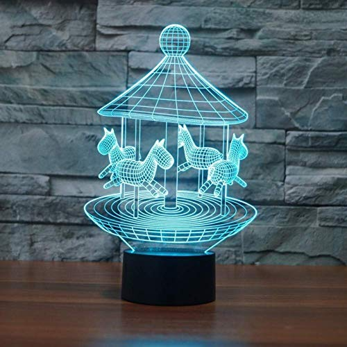 YWAWJ 3D-Illusion Night Lights Karussell Lampe Touch Sensor Bunte Raum Dekorative Atmosphäre Schreibtischlampe Kids Festival Geburtstag Neuheit Geschenke USB-Gebühr