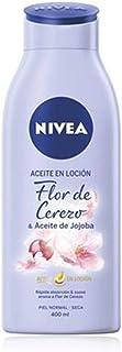 NIVEA Aceite en Loción Flor de Cerezo & Aceite de Jojoba (1 x 400 ml), loción corporal de rápida absorción, loción para el cuidado de la piel seca y normal