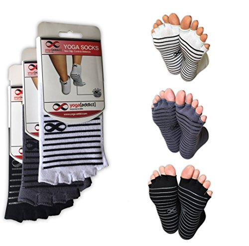Yoga, Pilates Toeless Half Toe Socks with Grips, Barre, Dance, Anti Slip Non Skid, Size S/M, 3 Pairs - White, Grey, Black