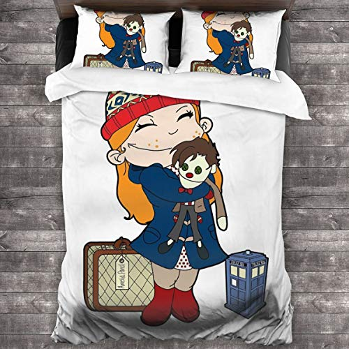 KUKHKU Amelia Estanque Doctor Who Tardis Juego de ropa de cama de 3 piezas, funda de edredón de 86 x 70 cm, juego de cama con 2 fundas de almohada