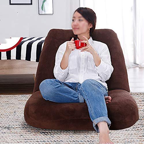 Sofá Lazy Sofa Chair Fashion Leisure Plegable Floor Chair Cama Sillón Sala De Estar Balcón Sofa Chair Single 129 * 77cm (Color : Brown)