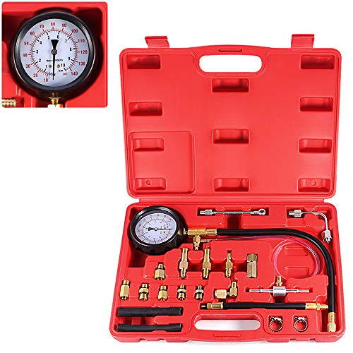 BETOOLL 0-140PSI Fuel Injector Injection Pump Pressure Tester Gauge Kit Car Tools (Master)