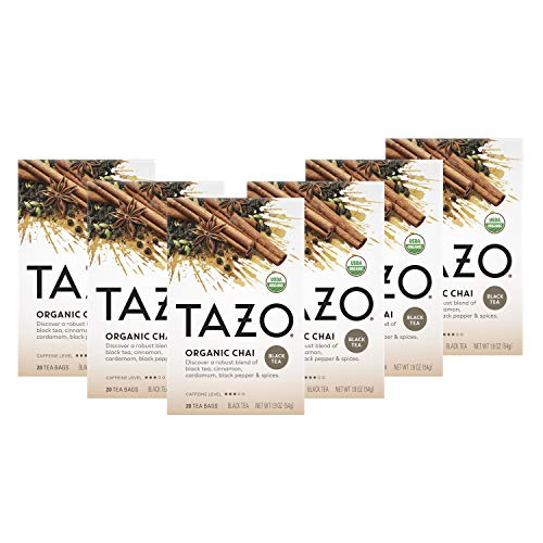 Tazo Organic Chai Tea Bags For a Warm Spiced Chai Black Tea Moderately Caffeinated Morning Drink 20 Tea Bags (Pack of 6, 20 Tea Bags/Pack)