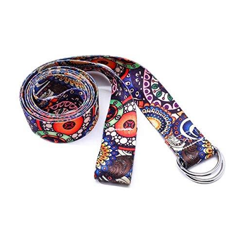Cinturón De Yoga De Algodón Estampado Cinturones De Correa Elástica Lavables Correa De Yoga Cuerda De Fitness Cuerda De Estera De Yoga Multicolor Cinturón Elástico De Yoga