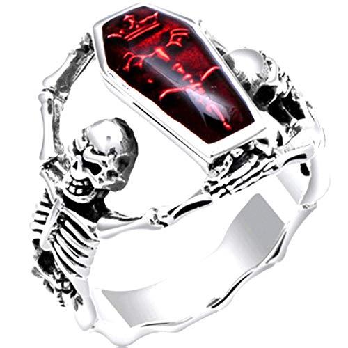 Punk Silver Skull Bat Ring Gothic Vampire Bloody Red Enamel Coffin Rings Men's Women's Metal Rock Biker Bands Fashion Jewelry (8)