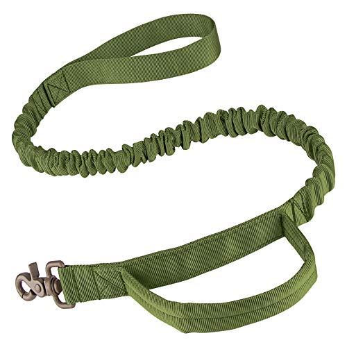 IronSeals Taktische Bungee-Hundeleine mit Schnellverschluss-Schnalle mit Kontrollgriff, Armeegrün