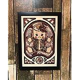 和風刺青キューピー 天狗面 オリジナルデザイン 龍と鯉 胸割り 黒ボカシ
