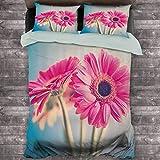 Toopeek Floral Hotel Luxury Bed Linen Vintage A Flower Petals in Hazy Picture Romántico Verano Tema Imprimir Poliéster - Suave y Transpirable (Completo) Azul Claro Rosa
