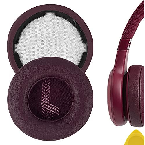 Geekria QuickFit Almohadillas de repuesto de piel de proteína para auriculares JBL LIVE 400BT, almohadillas para auriculares, almohadillas para auriculares, piezas de reparación (rojo)