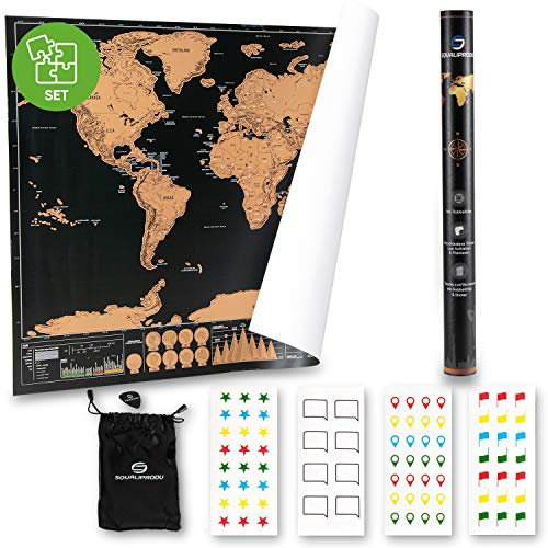 SQUALIPRODU ® Weltkarte - Rubbel Weltkarte XXL [60x80cm] mit vielen Extras | Weltkarte zum Rubbeln | Hochwertige Geschenk Verpackung