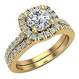 Ravishing - Juego de anillos de boda de diamantes de halo redondos, 1,40 ctw, oro de 18 quilates, certificado incluido