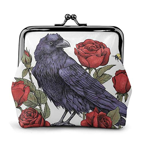 Trista Bauer Red Rose Flower Skull Butterfly Black Crow Themed Vintage Pouch Girl Kiss-Lock Monedero Monedero Monederos Hebilla Monederos de Cuero Llavero Mujer Impreso Novedad Mini