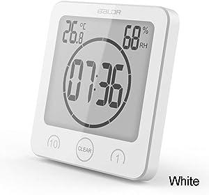 DINGWEN Horloge Murale numérique LCD pour Salle de Bain Étanche Horloge de Douche Minuteur Température Humidité Horloge Murale de Douche Minuteur Cuisine