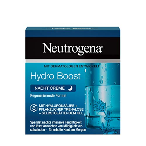 Neutrogena Hydro Boost Gesichtscreme, Nachtcreme mit Hyaluron, intensive Feuchtigkeit für jede Haut, 50ml