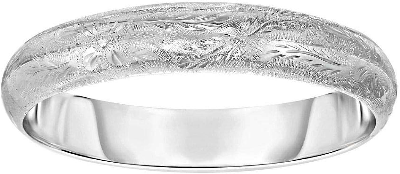 Sterling Silber Rhodium 12x 60mm Gravur Kuppel RND Florentine Armreif doppelseitig Schliee–20Centime