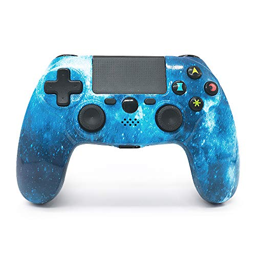 SANROYCA HQ2 Mando PS4 Inalámbrico Wireless de Alta Callidad, con DoubleShock 4 y Batería de lítio 1.000 mAh. Compatible con PS4/Slim/Pro, PC Windows y PS TV/Smart TV (Azul)