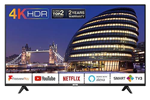 TCL 43P610K 43-Inch 4K Smart TV 3.0 Ultra HD - Freeview Play / BBC iPlayer / Netflix / YouTube / Smart HDR, Dolby Audio, Work with Alexa, Wi-Fi ,2*HDMI, 1*USB Port, Slim design, Black
