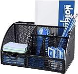 Organizador de escritorio multifuncional con 7 compartimentos, organizador de escritorio, soporte para bolígrafos, organizador multifunción, color negro