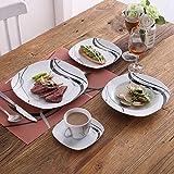 VEWEET Tafelservice 'Fiona' aus Porzellan 60 teilig | Kombiservice beinhatlet Kaffeetassen 175 ml, Untertasse, Dessertteller, Speiseteller und Suppenteller| Komplettservice für 12 Personen - 2