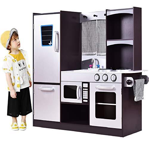 Costzon Kids Kitchen Playset, Wooden Cookware Pretend Cooking Food Set Toddler Gift Toy (37.4' Height, Espresso)