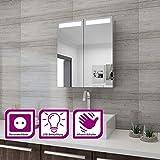 Elegant Spiegelschrank mit Beleuchtung 60 x 70 cm Infrarot Sensorschalter Badezimmerspiegel 2-türig...