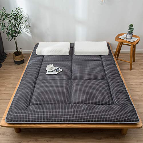 Japanese Tatami Mattress Futon, Double Single Futon Mattress,Thickened Floor Dormitory Mattress Topper Single Double Bed Mats Pad,Black,90x200cm
