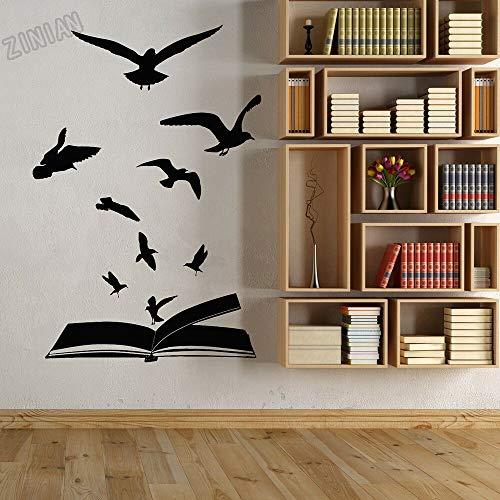 Grote vinyl muur sticker studie open boek vogel kudde leren muursticker decoratie bibliotheek retro slaapkamer muurschildering