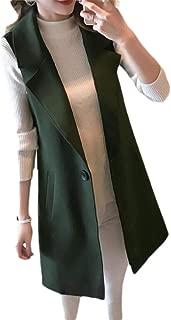 Women Sleeveless Blazer Jacket Solid Color Casual Outwear Waistcoat