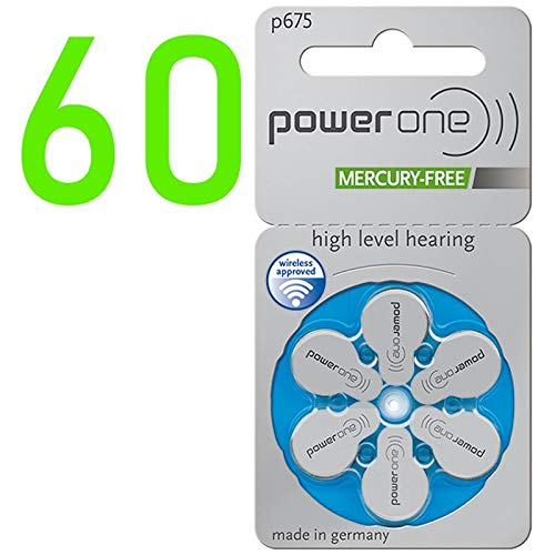 Power One Zinc Air Hearing Aid Batteries (Blue) Size 675 Pack of 60, PR44/p675 4600