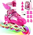 ZALALOVA Kids Adjustable Inline Skates, Safe and Durable Roller Skates for Girls with Breathable Mesh Skates- Featuring All Illuminating Wheels