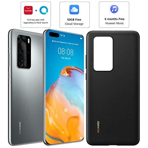 Huawei P40 Pro (5G) ELS-NX9 Dual/Hybrid-SIM 256 GB (sólo GSM | No CDMA) Smartphone desbloqueado de fábrica (Silver Frost) – Versión internacional