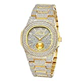 Mens Hip Hop Icey Watch Oblong Iced Out Sub-dial Wristwatch CZ Crystal Fashion Bling Jewlery Watch Unisex