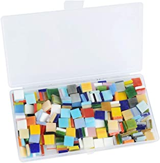 WOWOSS 400pcs/300g Mosaic Tiles Mosaic Stained Glass Pieces with Organizing Container for Home Decoration DIY Arts & Craft (Square,10 by 10 mm)
