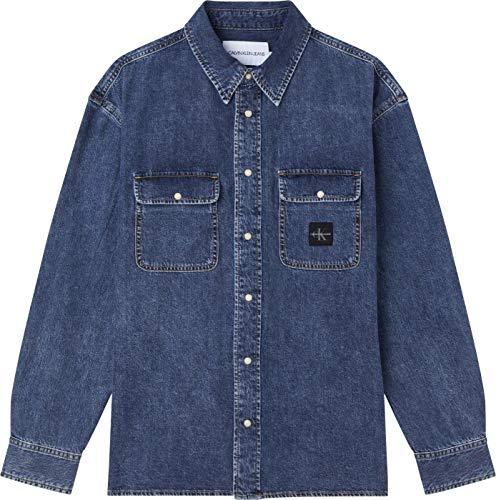 Calvin Klein Jeans Oversized Shirt Camisa, Luz Vaquera, XS para Hombre
