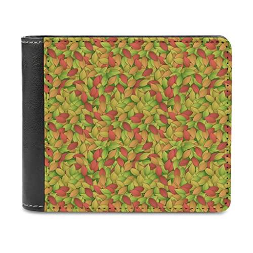 Cartera de piel sintética para hombre con diseño de hojas de palmeras, de colores, para tarjetas, con clip para dinero, blanco, talla única,