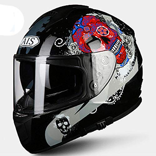 GENGJ Scooter del Casco de la Motocicleta del Casco para Hombres y Mujer,B,XL