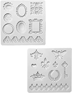 Juland Silicone Fondant Cake Decorating Mold for Chocolate, Baking, Sugar Craft, Polymer Clay, Soap, Cupcake - Bee Crown Key Mirror Heart Lace Photo Frame – Gray