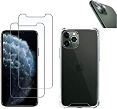 iPhone 11 Pro case (2 Pack) Clear Crystal case with 4 Corner Shock Protection, Soft Scratch-Resistant,TPU iPhone case with 2 Screen Protectors,1 Camera Lens Screen Protector for iPhone 11 Pro 5.8''