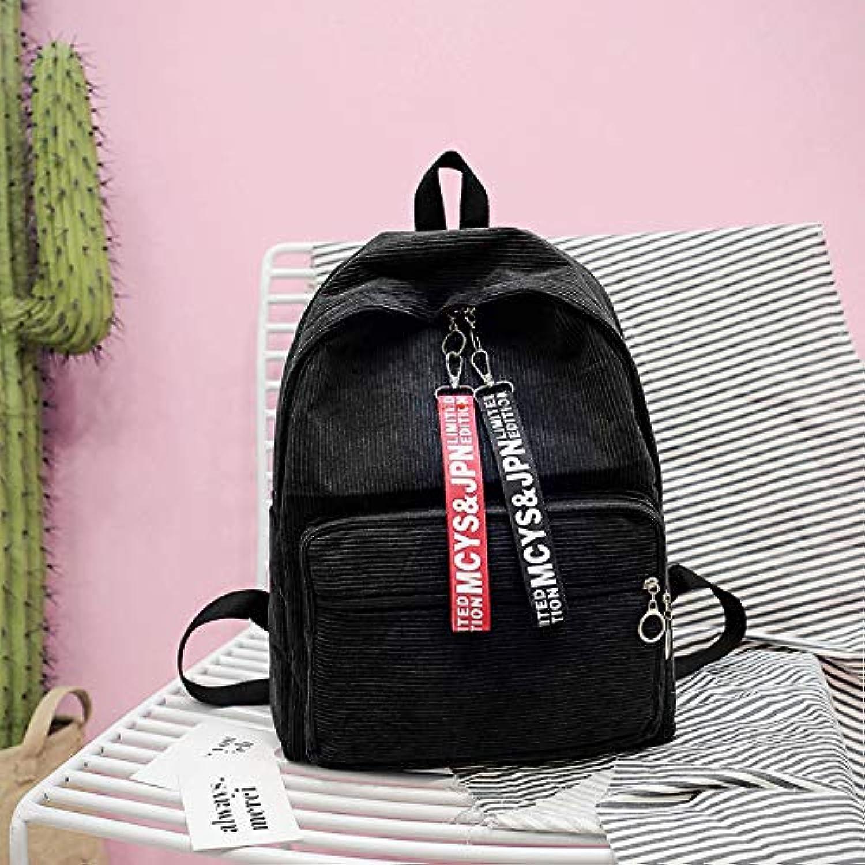 Fsweeth Student Tasche weiblichen Corduroy Rucksack lässig Farbe große Kapazität travel Student Rucksack, 30  40  13 cm, schwarz B07L4RZRTP  | Moderner Modus
