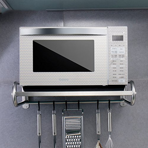 Shelf LYG Küchenregal, Praktische Wandmontierte Mikrowelle Rack Gewürzkocher Regal Multifunktions Edelstahl Küche Kommoden & Sideboards 4 Styles (Size : 53cm*38cm*18cm)
