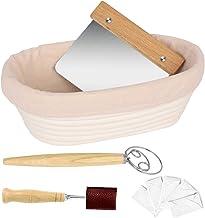 NZQXJXZ Proofing Basket Set, 9.6 Inch Oval Bread Basket, Natural Rattan Sourdough Basket with Dough Whisk + Dough Scraper...