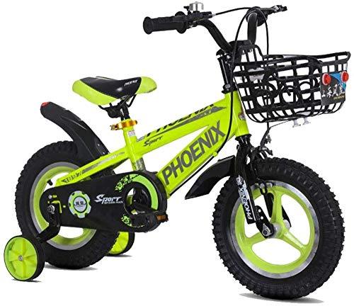 Bicicletas para niños de 12/14/16/18 pulgadas para niños y niñas Ciclismo adecuado para niños de 2 a 13 años de edad, azul, amarillo, rojo, amarillo, amarillo, 14 pulgadas