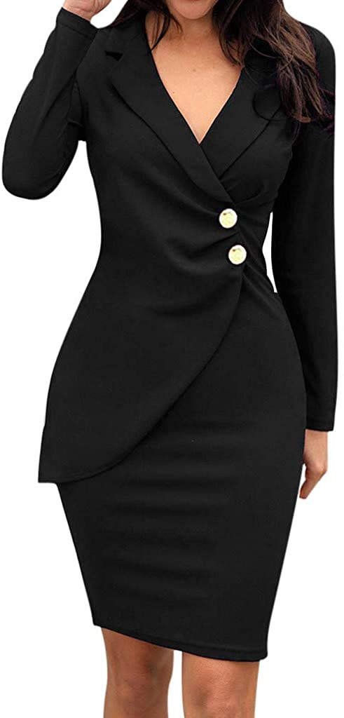 YOCheerful Formal Dress Women Office Solid Slim Turn-Down Neck Long Sleeve Casual Button Business Smart Work Dresses