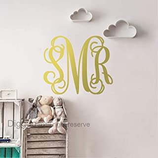 Monogram Wall Decal Vinyl Lettering Family Wall Decal Personalized Initial Sticker Childrens Room Decor (Gold,22