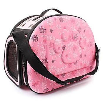 Yimidear Sac Transport pour Chien Chat Pliant Sac à Main Bandoulière Petit Respirant Pet Carrier Voyage De Plein air (Rose)