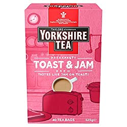 We've squished the taste of jam on toast into an extra strong Yorkshire Tea blend It's a mighty morning brew with a lip-smacking smattering of toasty, jammy loveliness A proper breakfasty brew 100% Carbon Neutral Suitable for vegetarians and vegans